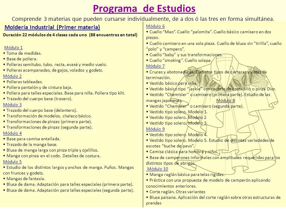 Programa de Estudios Comprende 3 materias que pueden cursarse individualmente, de a dos ó las tres en forma simultánea.