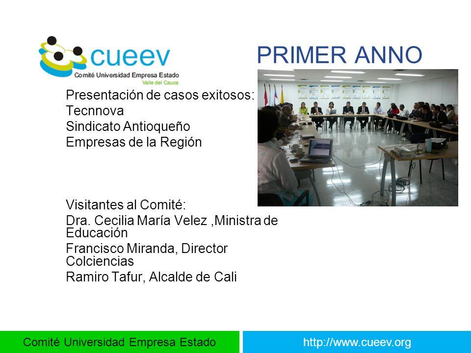Comité Universidad Empresa Estadohttp://www.cueev.org PRIMER ANNO Presentación de casos exitosos: Tecnnova Sindicato Antioqueño Empresas de la Región