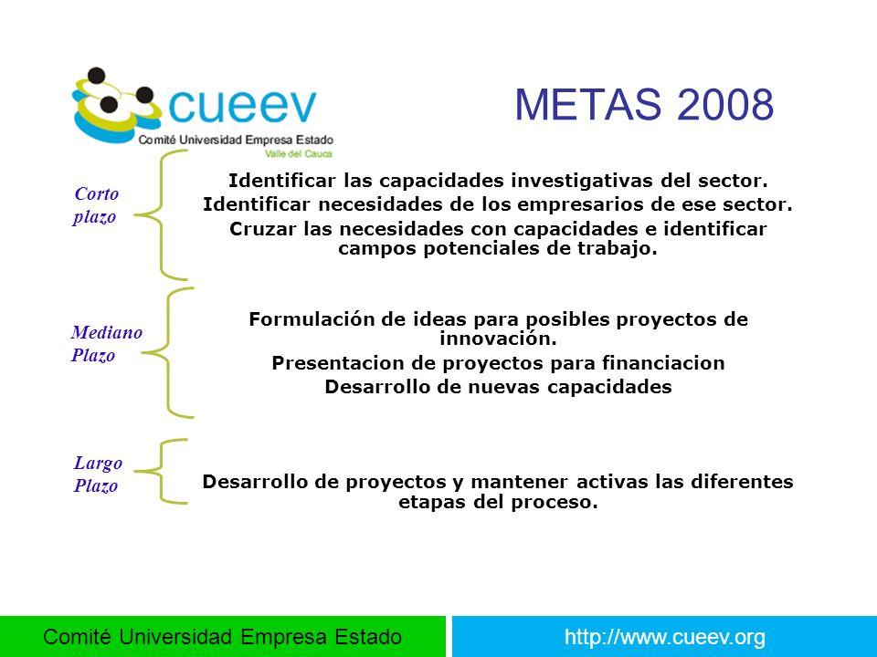 Comité Universidad Empresa Estadohttp://www.cueev.org METAS 2008 Identificar las capacidades investigativas del sector. Identificar necesidades de los