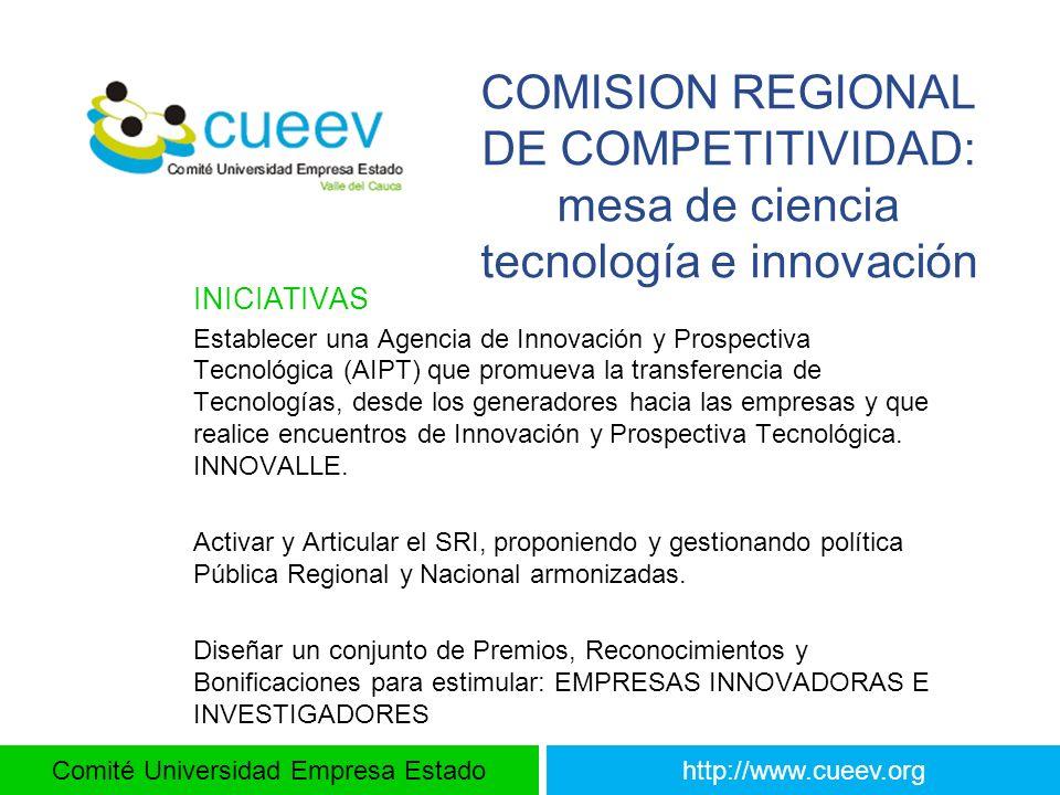 Comité Universidad Empresa Estadohttp://www.cueev.org COMISION REGIONAL DE COMPETITIVIDAD: mesa de ciencia tecnología e innovación INICIATIVAS Estable