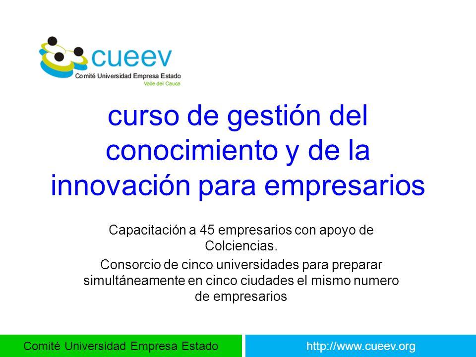 Comité Universidad Empresa Estadohttp://www.cueev.org curso de gestión del conocimiento y de la innovación para empresarios Capacitación a 45 empresar