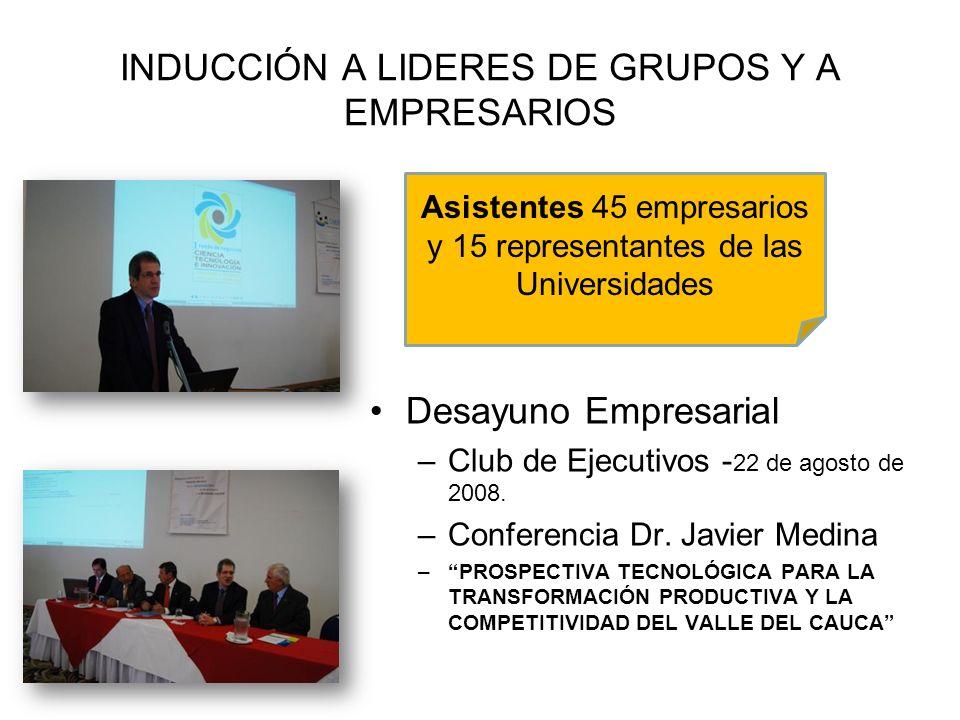 INDUCCIÓN A LIDERES DE GRUPOS Y A EMPRESARIOS Desayuno Empresarial –Club de Ejecutivos - 22 de agosto de 2008. –Conferencia Dr. Javier Medina –PROSPEC