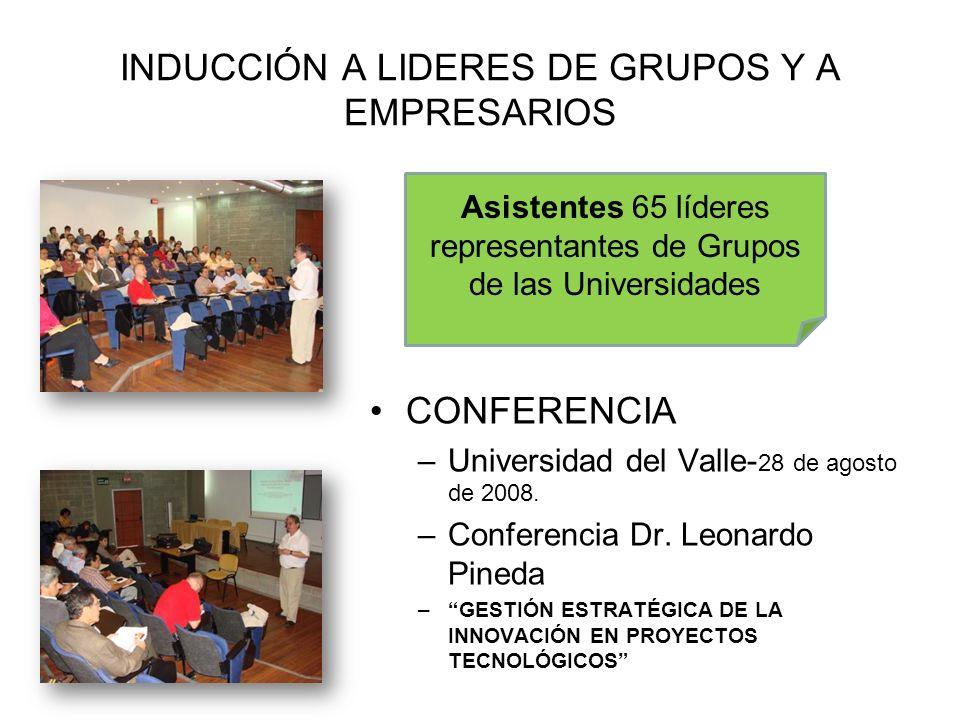 INDUCCIÓN A LIDERES DE GRUPOS Y A EMPRESARIOS CONFERENCIA –Universidad del Valle- 28 de agosto de 2008. –Conferencia Dr. Leonardo Pineda –GESTIÓN ESTR