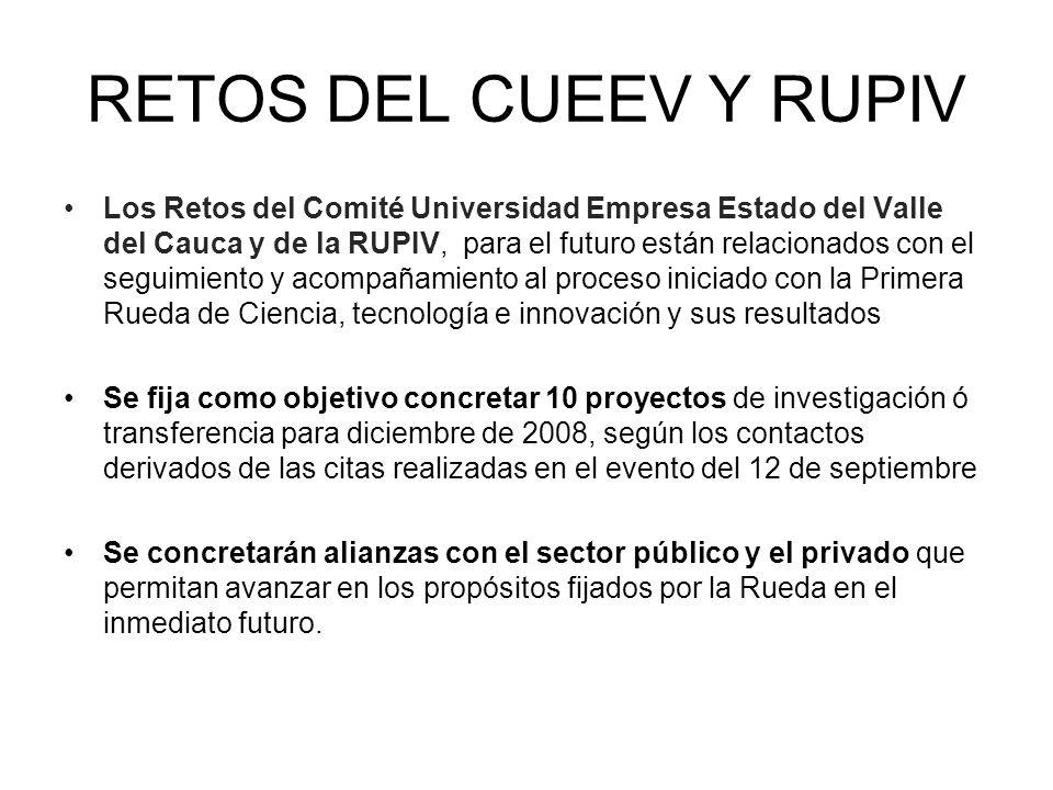 RETOS DEL CUEEV Y RUPIV Los Retos del Comité Universidad Empresa Estado del Valle del Cauca y de la RUPIV, para el futuro están relacionados con el se