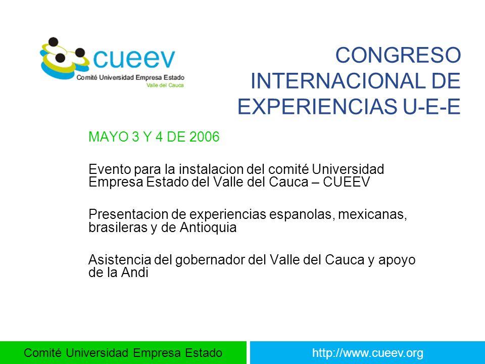 Comité Universidad Empresa Estadohttp://www.cueev.org CONGRESO INTERNACIONAL DE EXPERIENCIAS U-E-E MAYO 3 Y 4 DE 2006 Evento para la instalacion del c