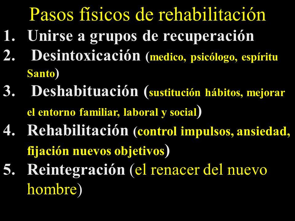 Pasos físicos de rehabilitación 1.Unirse a grupos de recuperación 2. Desintoxicación ( medico, psicólogo, espíritu Santo ) 3. Deshabituación ( sustitu