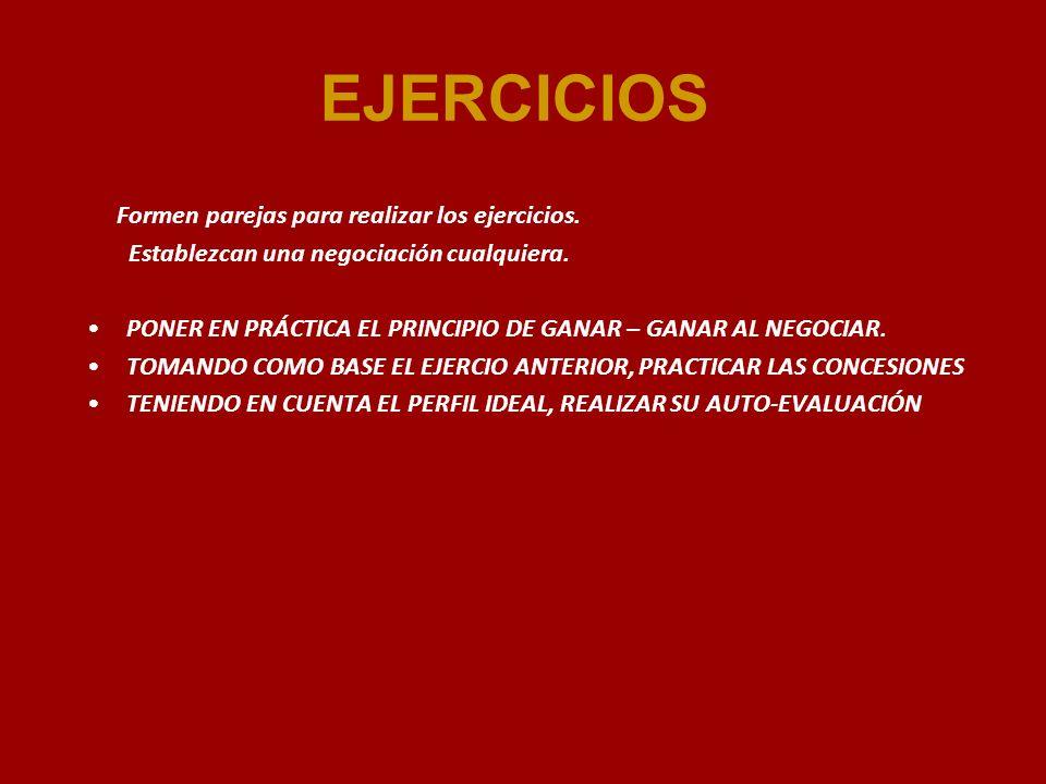 EJERCICIOS Formen parejas para realizar los ejercicios.
