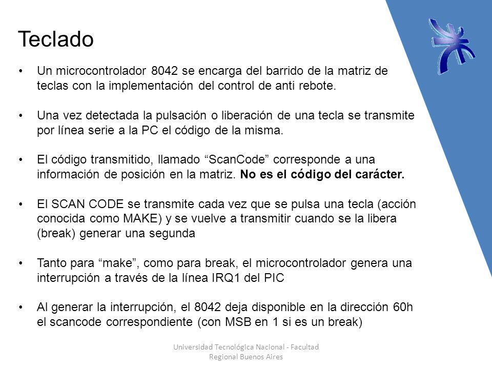 Teclado Universidad Tecnológica Nacional - Facultad Regional Buenos Aires Un microcontrolador 8042 se encarga del barrido de la matriz de teclas con la implementación del control de anti rebote.