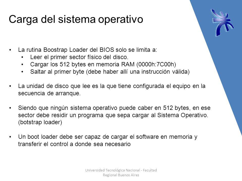 Carga del sistema operativo Universidad Tecnológica Nacional - Facultad Regional Buenos Aires La rutina Boostrap Loader del BIOS solo se limita a: Leer el primer sector físico del disco.