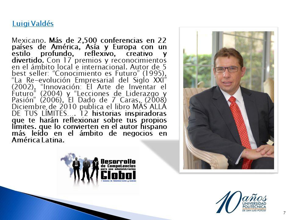 Luigi Valdés Mexicano. Más de 2,500 conferencias en 22 países de América, Asía y Europa con un estilo profundo, reflexivo, creativo y divertido. Con 1