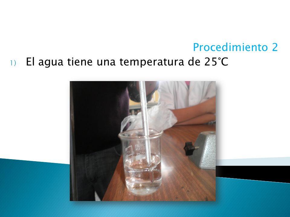 Procedimiento 2 1) El agua tiene una temperatura de 25°C