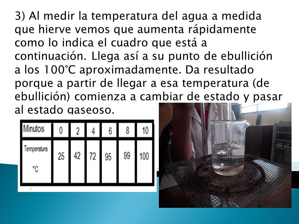 3) Al medir la temperatura del agua a medida que hierve vemos que aumenta rápidamente como lo indica el cuadro que está a continuación. Llega así a su
