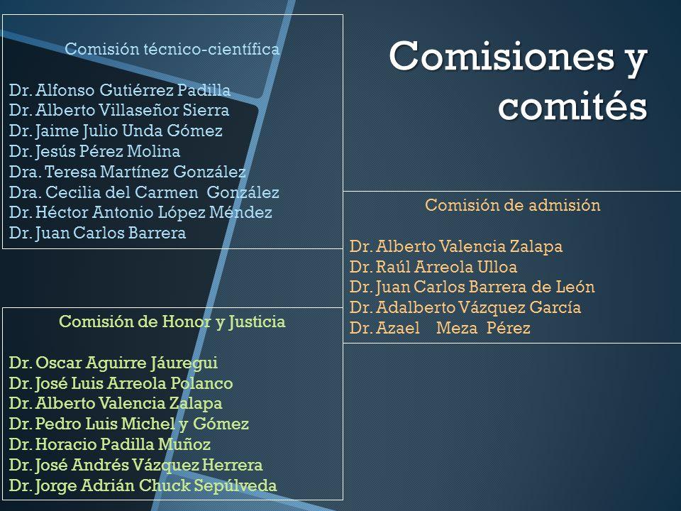 Comisiones y comités Comisión técnico-científica Dr. Alfonso Gutiérrez Padilla Dr. Alberto Villaseñor Sierra Dr. Jaime Julio Unda Gómez Dr. Jesús Pére