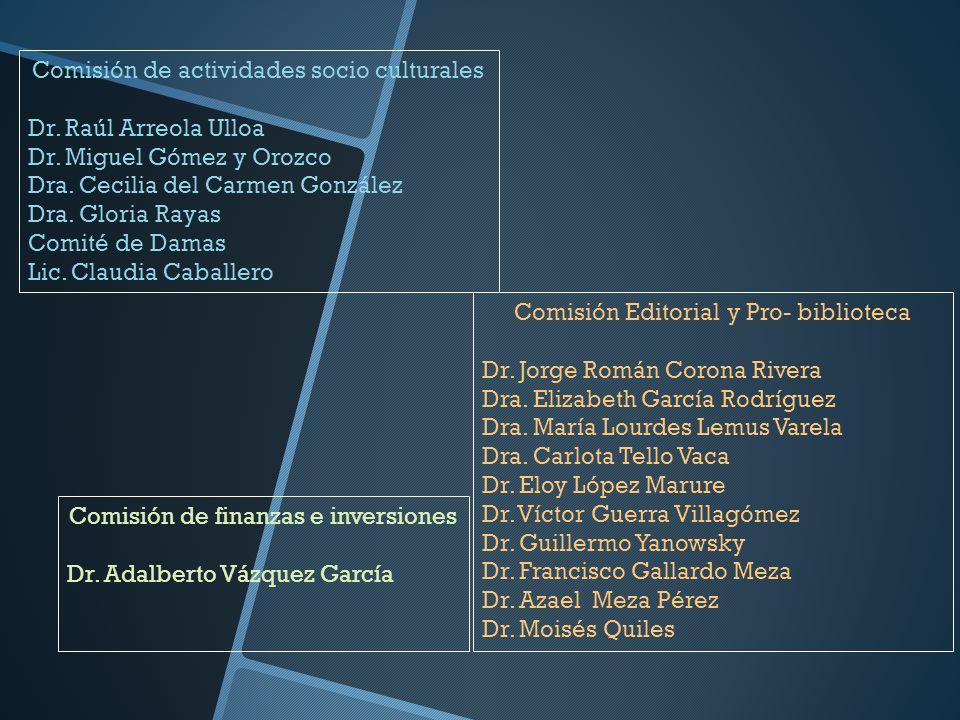 Comisión de actividades socio culturales Dr. Raúl Arreola Ulloa Dr. Miguel Gómez y Orozco Dra. Cecilia del Carmen González Dra. Gloria Rayas Comité de