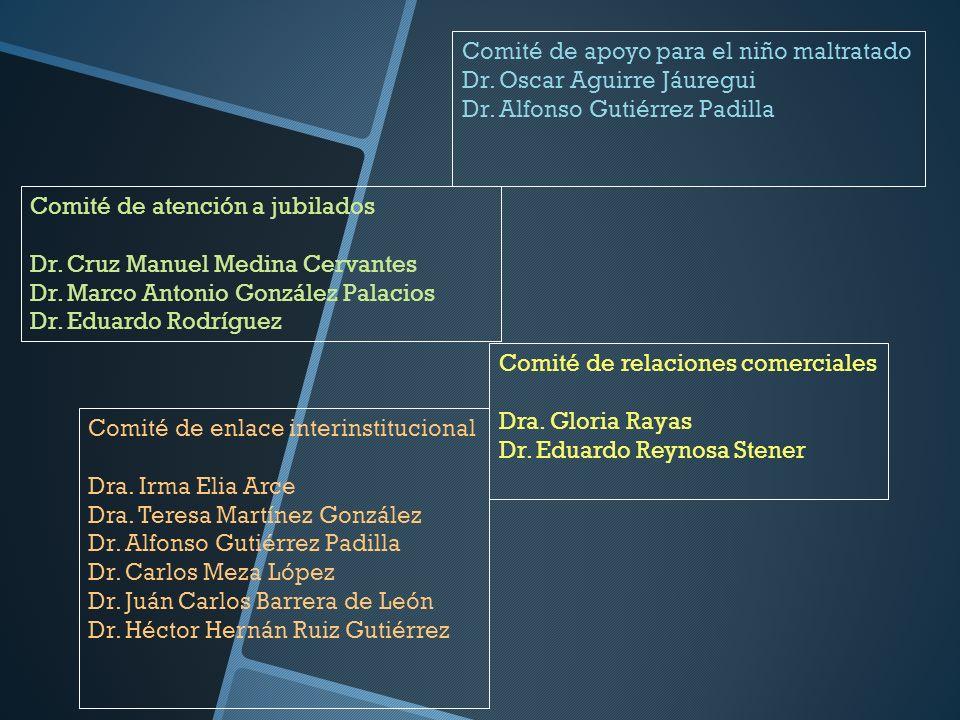 Comité de relaciones comerciales Dra. Gloria Rayas Dr. Eduardo Reynosa Stener Comité de atención a jubilados Dr. Cruz Manuel Medina Cervantes Dr. Marc