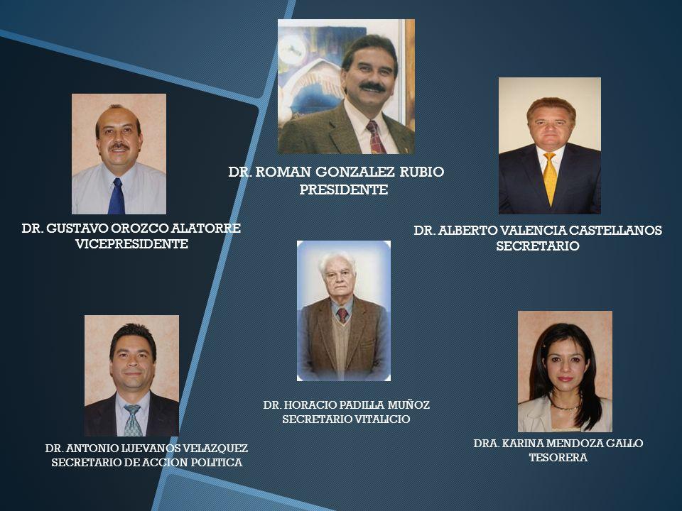 DR. ROMAN GONZALEZ RUBIO PRESIDENTE DR. GUSTAVO OROZCO ALATORRE VICEPRESIDENTE DR. ALBERTO VALENCIA CASTELLANOS SECRETARIO DR. ANTONIO LUEVANOS VELAZQ