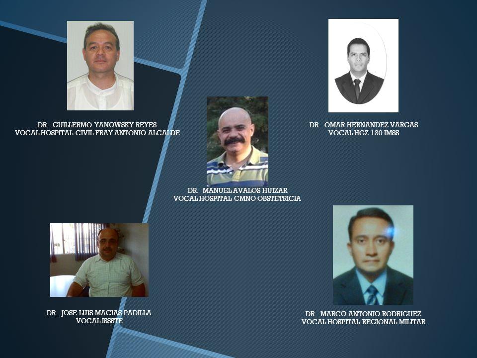 DR. OMAR HERNANDEZ VARGAS VOCAL HGZ 180 IMSS DR. GUILLERMO YANOWSKY REYES VOCAL HOSPITAL CIVIL FRAY ANTONIO ALCALDE DR. JOSE LUIS MACIAS PADILLA VOCAL