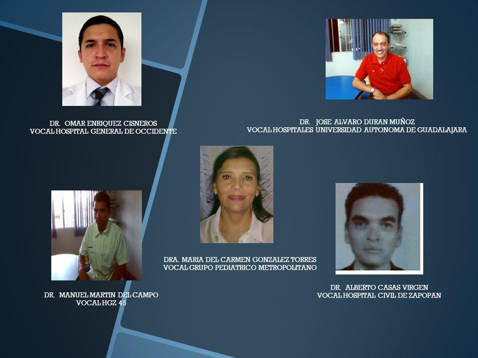 DR. JOSE ALVARO DURAN MUÑOZ VOCAL HOSPITALES UNIVERSIDAD AUTONOMA DE GUADALAJARA DR. OMAR ENRIQUEZ CISNEROS VOCAL HOSPITAL GENERAL DE OCCIDENTE DR. MA