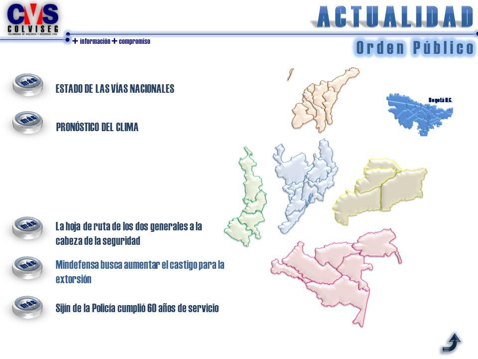 + información + compromiso ESTADO DE LAS VÍAS NACIONALES PRONÓSTICO DEL CLIMA Bogotá D.C. La hoja de ruta de los dos generales a la cabeza de la segur