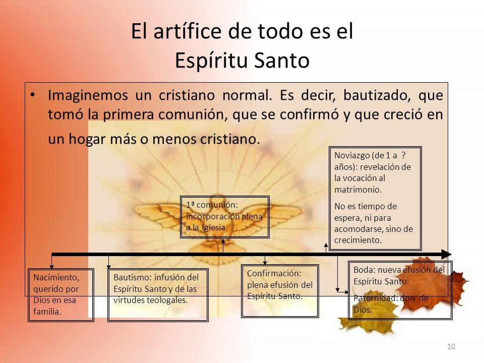10 El artífice de todo es el Espíritu Santo Imaginemos un cristiano normal. Es decir, bautizado, que tomó la primera comunión, que se confirmó y que c