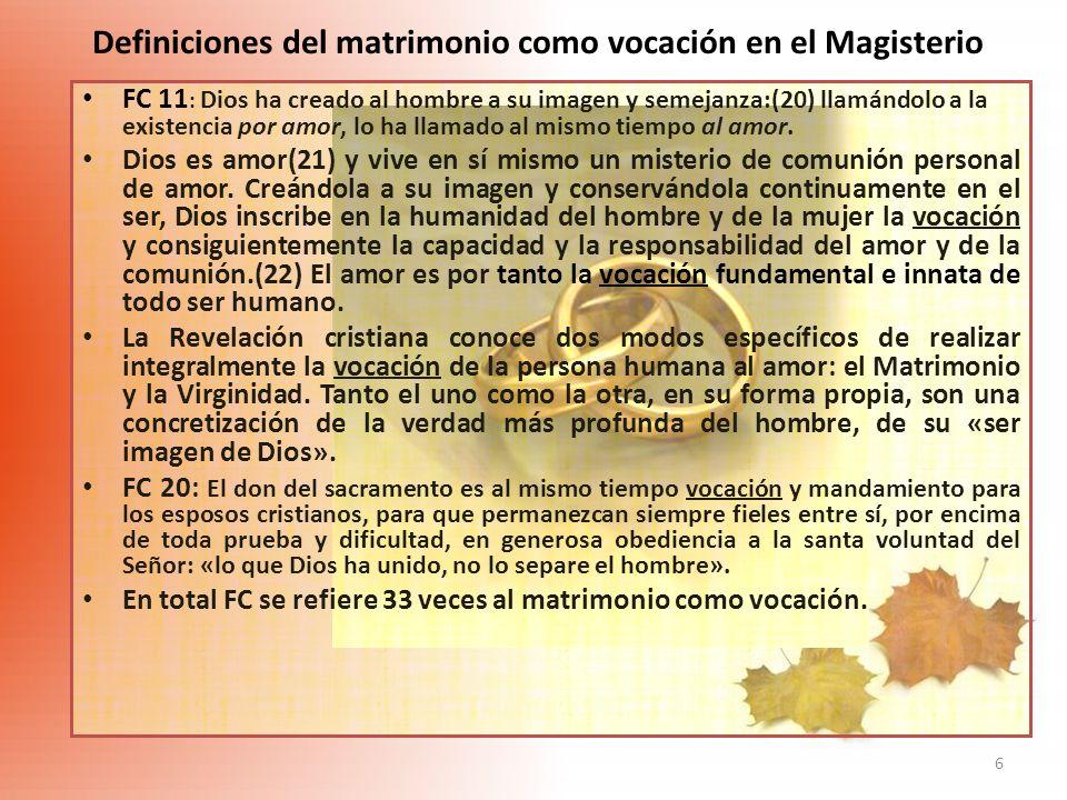6 Definiciones del matrimonio como vocación en el Magisterio FC 11 : Dios ha creado al hombre a su imagen y semejanza:(20) llamándolo a la existencia