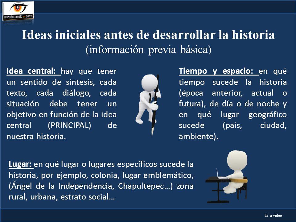 Ideas iniciales antes de desarrollar la historia (información previa básica) Tiempo y espacio: en qué tiempo sucede la historia (época anterior, actua