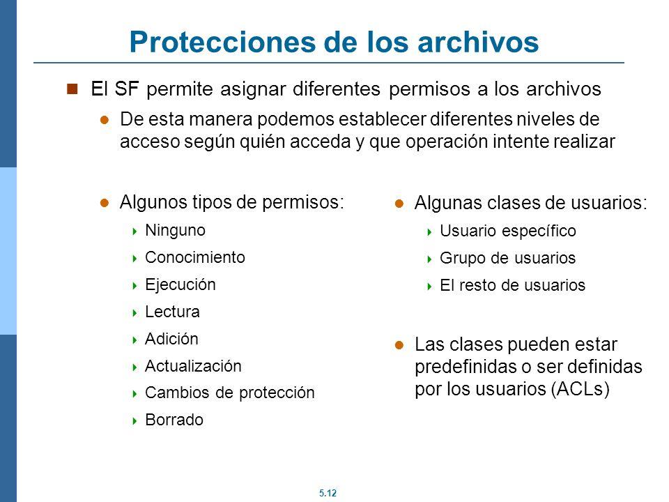 5.12 Protecciones de los archivos El SF permite asignar diferentes permisos a los archivos De esta manera podemos establecer diferentes niveles de acc