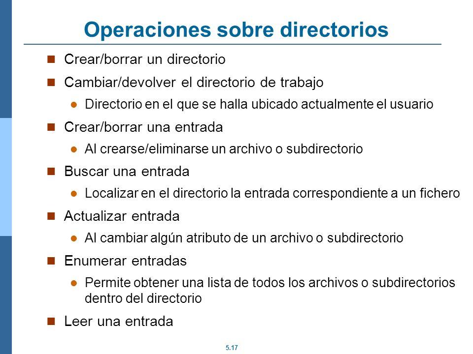 5.17 Operaciones sobre directorios Crear/borrar un directorio Cambiar/devolver el directorio de trabajo Directorio en el que se halla ubicado actualme