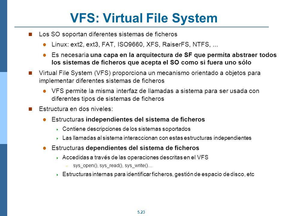 5.23 VFS: Virtual File System Los SO soportan diferentes sistemas de ficheros Linux: ext2, ext3, FAT, ISO9660, XFS, RaiserFS, NTFS,... Es necesaria un