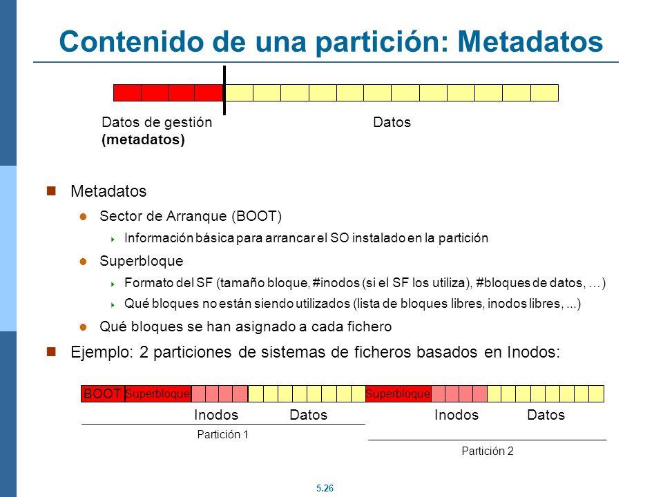 5.26 Contenido de una partición: Metadatos Metadatos Sector de Arranque (BOOT) Información básica para arrancar el SO instalado en la partición Superb