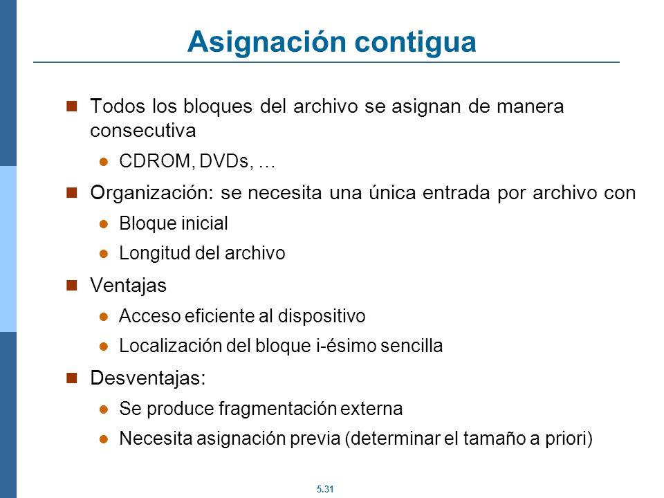 5.31 Asignación contigua Todos los bloques del archivo se asignan de manera consecutiva CDROM, DVDs, … Organización: se necesita una única entrada por