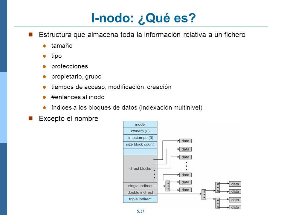 5.37 I-nodo: ¿Qué es? Estructura que almacena toda la información relativa a un fichero tamaño tipo protecciones propietario, grupo tiempos de acceso,