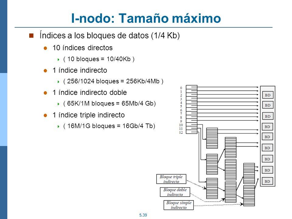 5.39 I-nodo: Tamaño máximo Índices a los bloques de datos (1/4 Kb) 10 índices directos ( 10 bloques = 10/40Kb ) 1 índice indirecto ( 256/1024 bloques