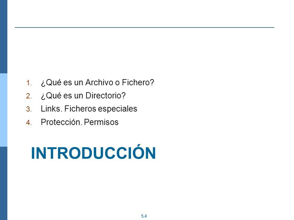 5.4 INTRODUCCIÓN 1. ¿Qué es un Archivo o Fichero? 2. ¿Qué es un Directorio? 3. Links. Ficheros especiales 4. Protección. Permisos