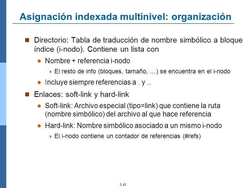 5.41 Asignación indexada multinivel: organización Directorio: Tabla de traducción de nombre simbólico a bloque índice (i-nodo). Contiene un lista con