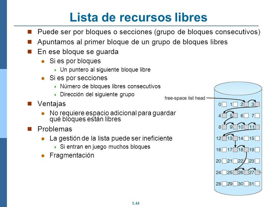 5.44 Lista de recursos libres Puede ser por bloques o secciones (grupo de bloques consecutivos) Apuntamos al primer bloque de un grupo de bloques libr