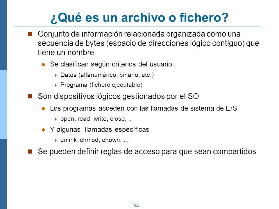 5.5 ¿Qué es un archivo o fichero? Conjunto de información relacionada organizada como una secuencia de bytes (espacio de direcciones lógico contiguo)