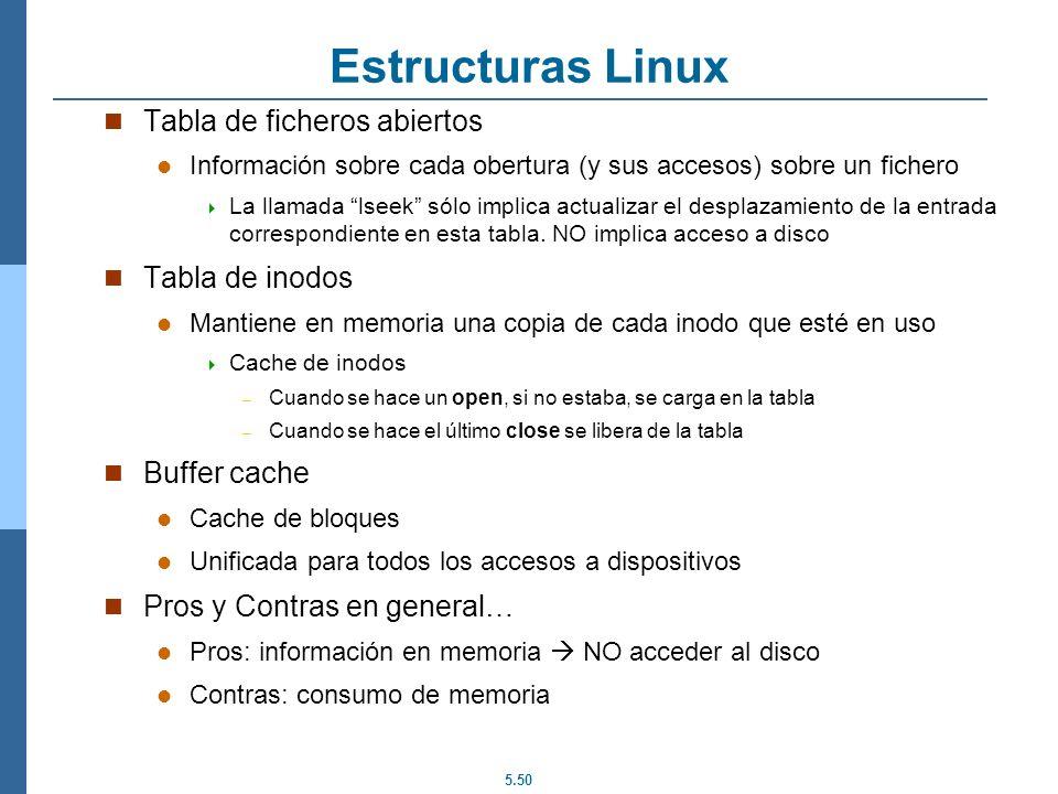 5.50 Estructuras Linux Tabla de ficheros abiertos Información sobre cada obertura (y sus accesos) sobre un fichero La llamada lseek sólo implica actua