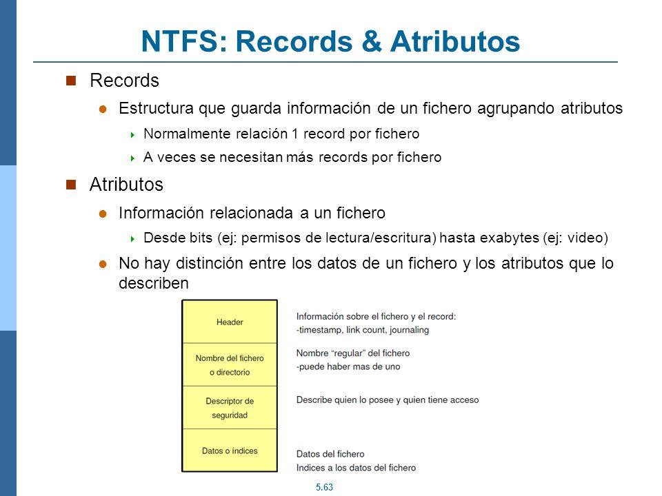 5.63 NTFS: Records & Atributos Records Estructura que guarda información de un fichero agrupando atributos Normalmente relación 1 record por fichero A