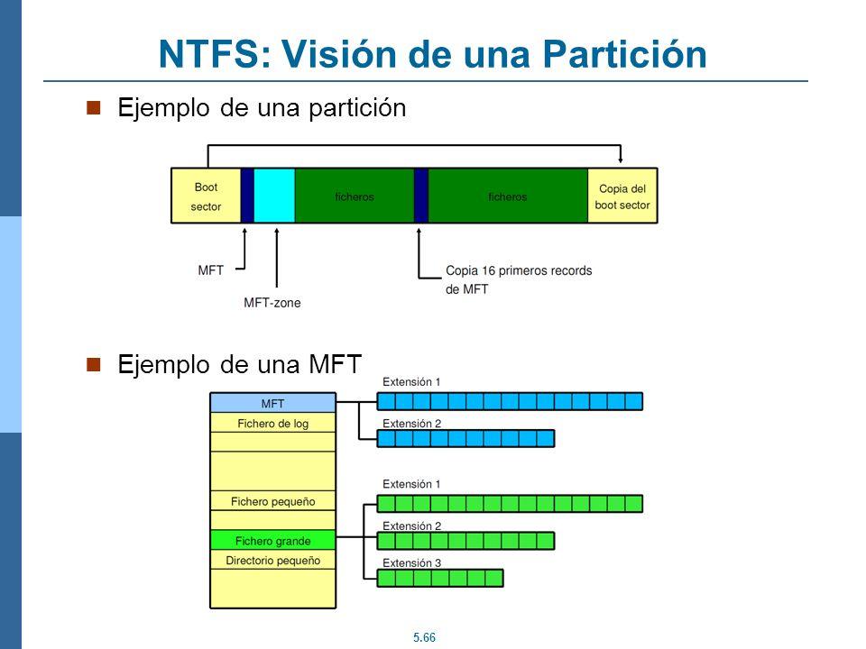 5.66 NTFS: Visión de una Partición Ejemplo de una partición Ejemplo de una MFT
