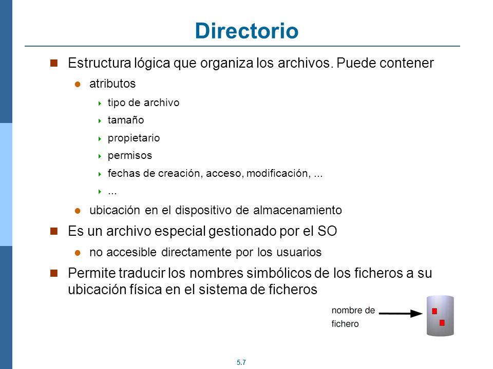 5.7 Directorio Estructura lógica que organiza los archivos. Puede contener atributos tipo de archivo tamaño propietario permisos fechas de creación, a