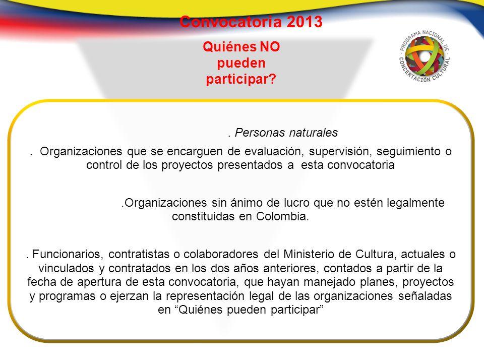 Convocatoria 2013.Personas naturales.
