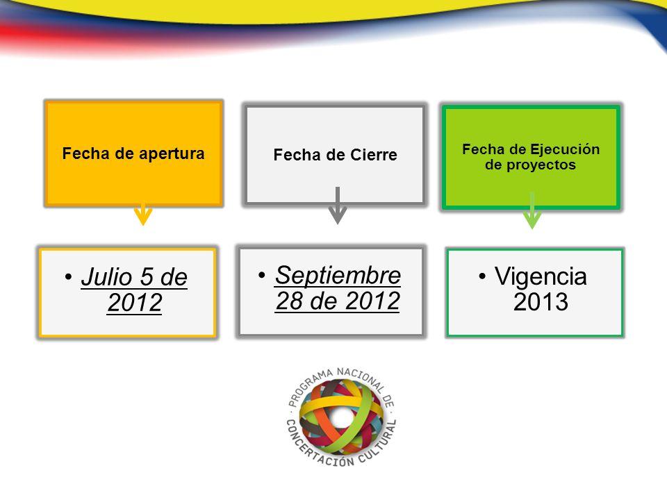 Fecha de apertura Julio 5 de 2012 Fecha de Cierre Septiembre 28 de 2012 Fecha de Ejecución de proyectos Vigencia 2013