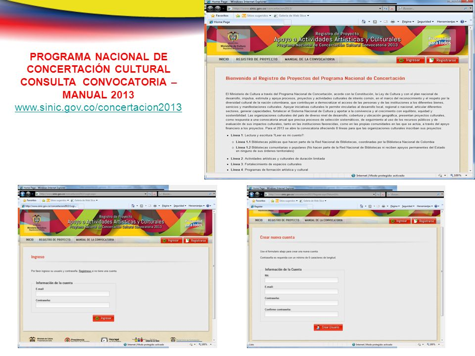 PROGRAMA NACIONAL DE CONCERTACIÓN CULTURAL CONSULTA CONVOCATORIA – MANUAL 2013 www.sinic.gov.co/concertacion2013