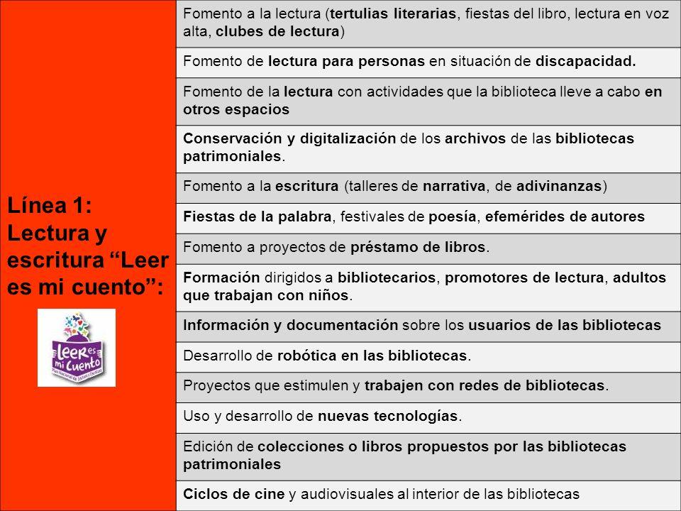 Línea 1: Lectura y escritura Leer es mi cuento: Fomento a la lectura (tertulias literarias, fiestas del libro, lectura en voz alta, clubes de lectura) Fomento de lectura para personas en situación de discapacidad.