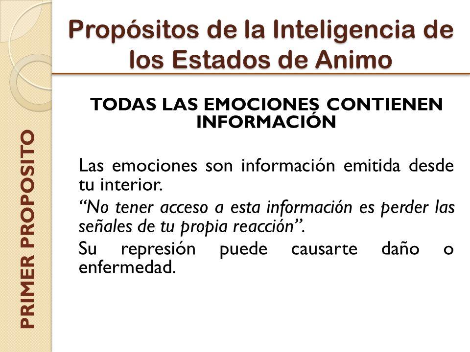 Propósitos de la Inteligencia de los Estados de Animo TODAS LAS EMOCIONES CONTIENEN INFORMACIÓN Las emociones son información emitida desde tu interior.