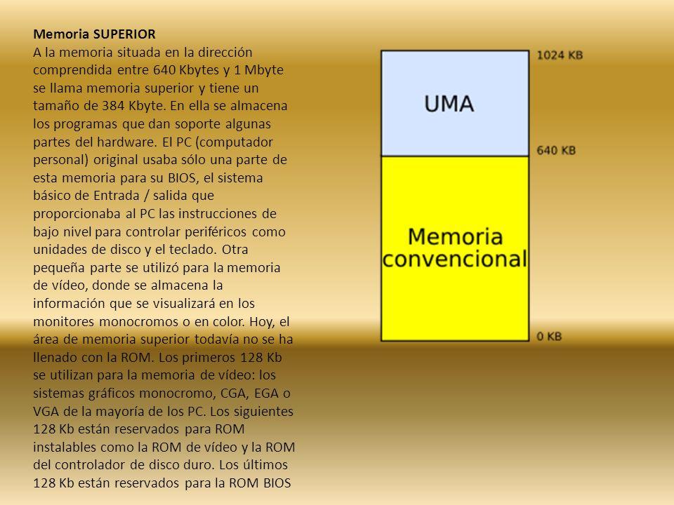 Memoria SUPERIOR A la memoria situada en la dirección comprendida entre 640 Kbytes y 1 Mbyte se llama memoria superior y tiene un tamaño de 384 Kbyte.