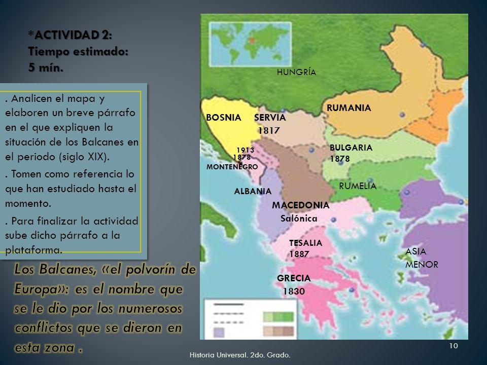 Historia Universal. 2do. Grado.9 La unificación italiana se dio de manera simultánea a la alemana. Ambos procesos fueron resultado de los movimientos
