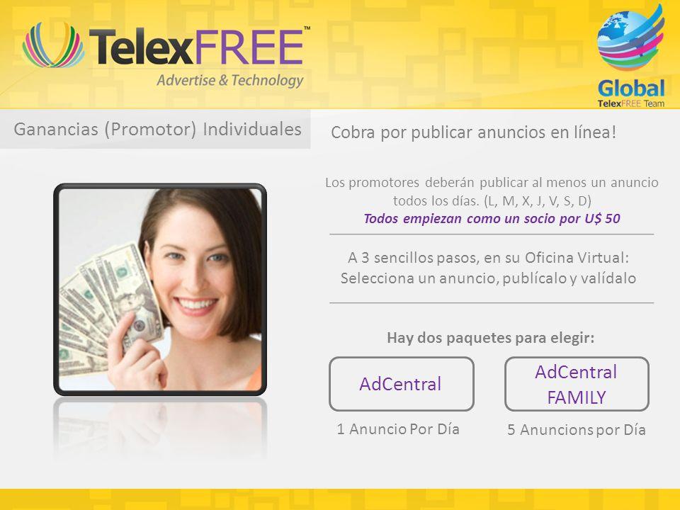 Ganancias (Promotor) Individuales Cobra por publicar anuncios en línea.