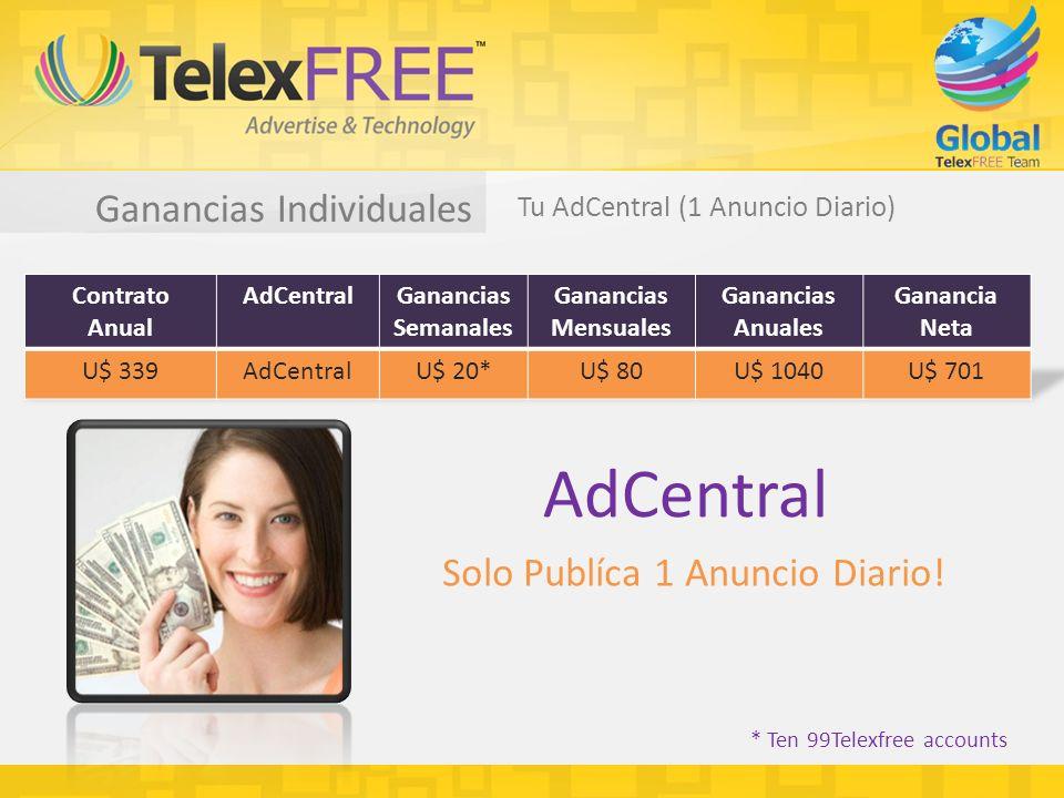 Ganancias Individuales Tu AdCentral (1 Anuncio Diario) * Ten 99Telexfree accounts AdCentral Solo Publíca 1 Anuncio Diario!